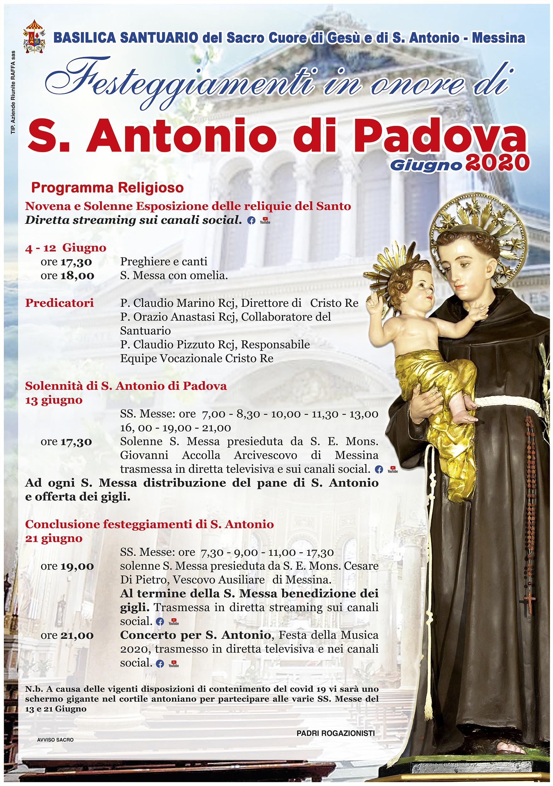 MANIFESTO FESTA S. ANTONIO 2020